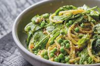 "Adding peas to a carbonara is by no means classically Italian, though the combination of black pepper, pancetta, and peas is. Instead of (or in addition to) the peas, you could use asparagus or thinly sliced sugar snap peas. <a href=""https://www.epicurious.com/recipes/food/views/pasta-carbonara-with-english-peas?mbid=synd_yahoo_rss"" rel=""nofollow noopener"" target=""_blank"" data-ylk=""slk:See recipe."" class=""link rapid-noclick-resp"">See recipe.</a>"