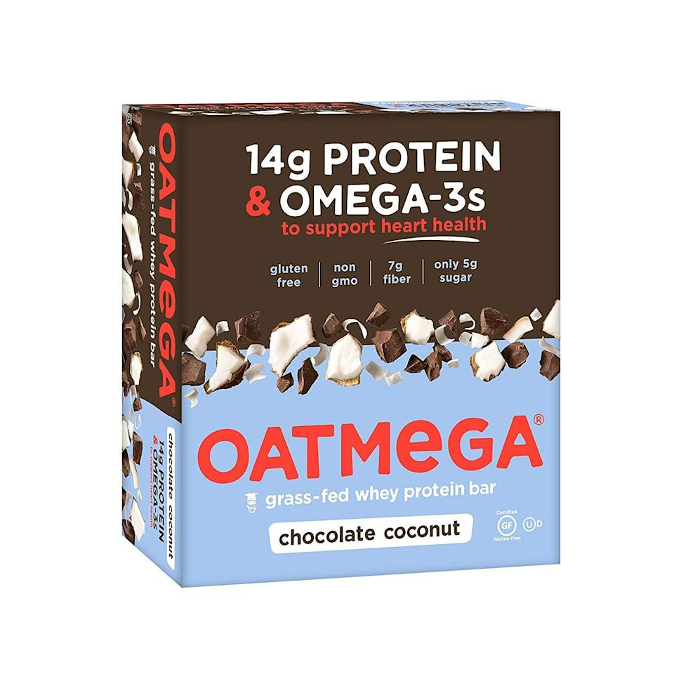 <p>If you're looking for a nutritious protein bar that will keep you satisfied, reach for these <span>OATMEGA Protein Bars</span> ($20 for 12). They come in such yummy flavors.</p>