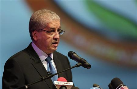 Algeria's PM Sellal speaks during the opening ceremony of the African Conference on Green Economy in Oran