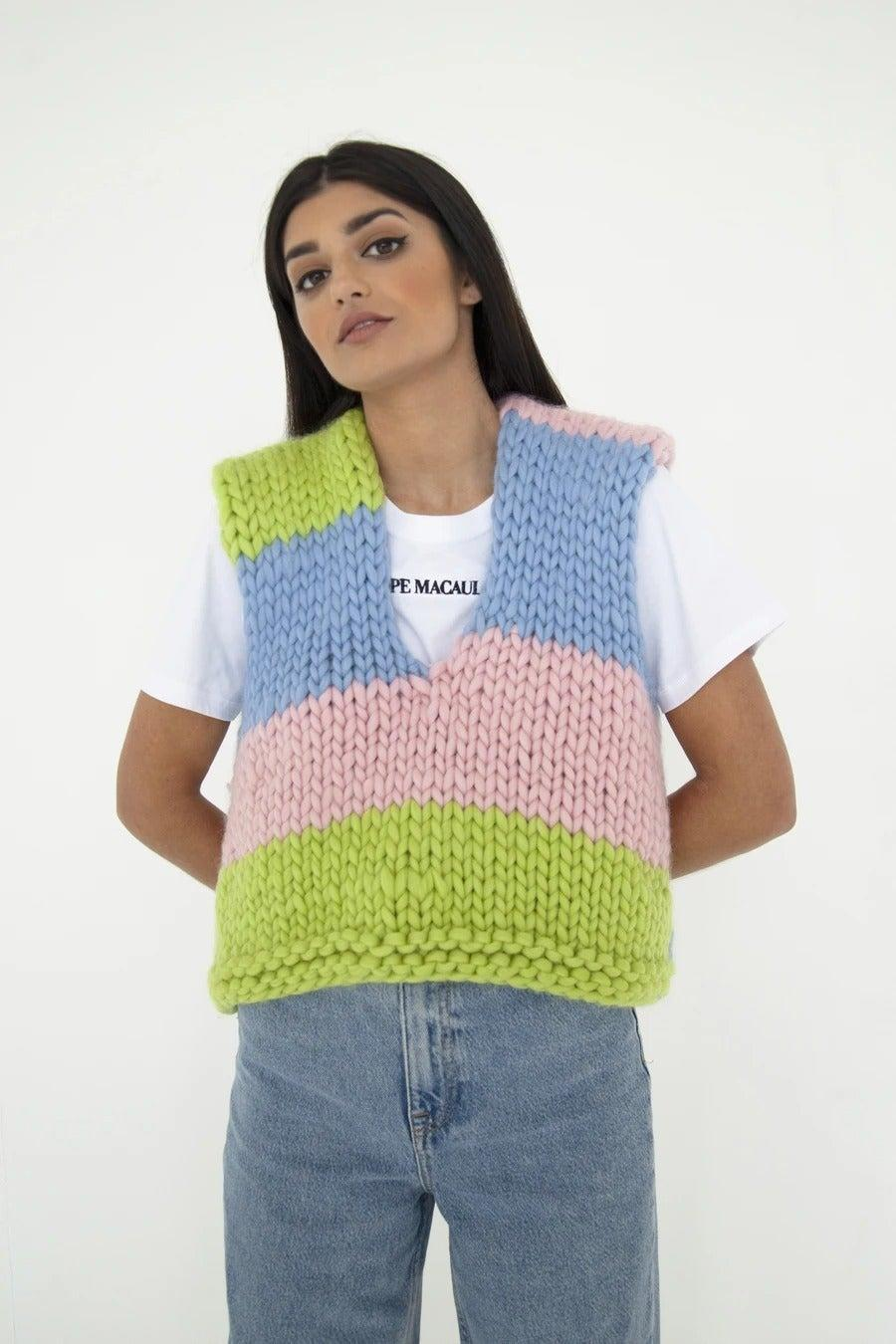 "<br><br><strong>Hope Macaulay</strong> Venus Chunky Knit Sweater Vest, $, available at <a href=""https://hopemacaulay.com/collections/knitwear/products/venus-chunky-knit-sweater-vest"" rel=""nofollow noopener"" target=""_blank"" data-ylk=""slk:Hope Macaulay"" class=""link rapid-noclick-resp"">Hope Macaulay</a>"