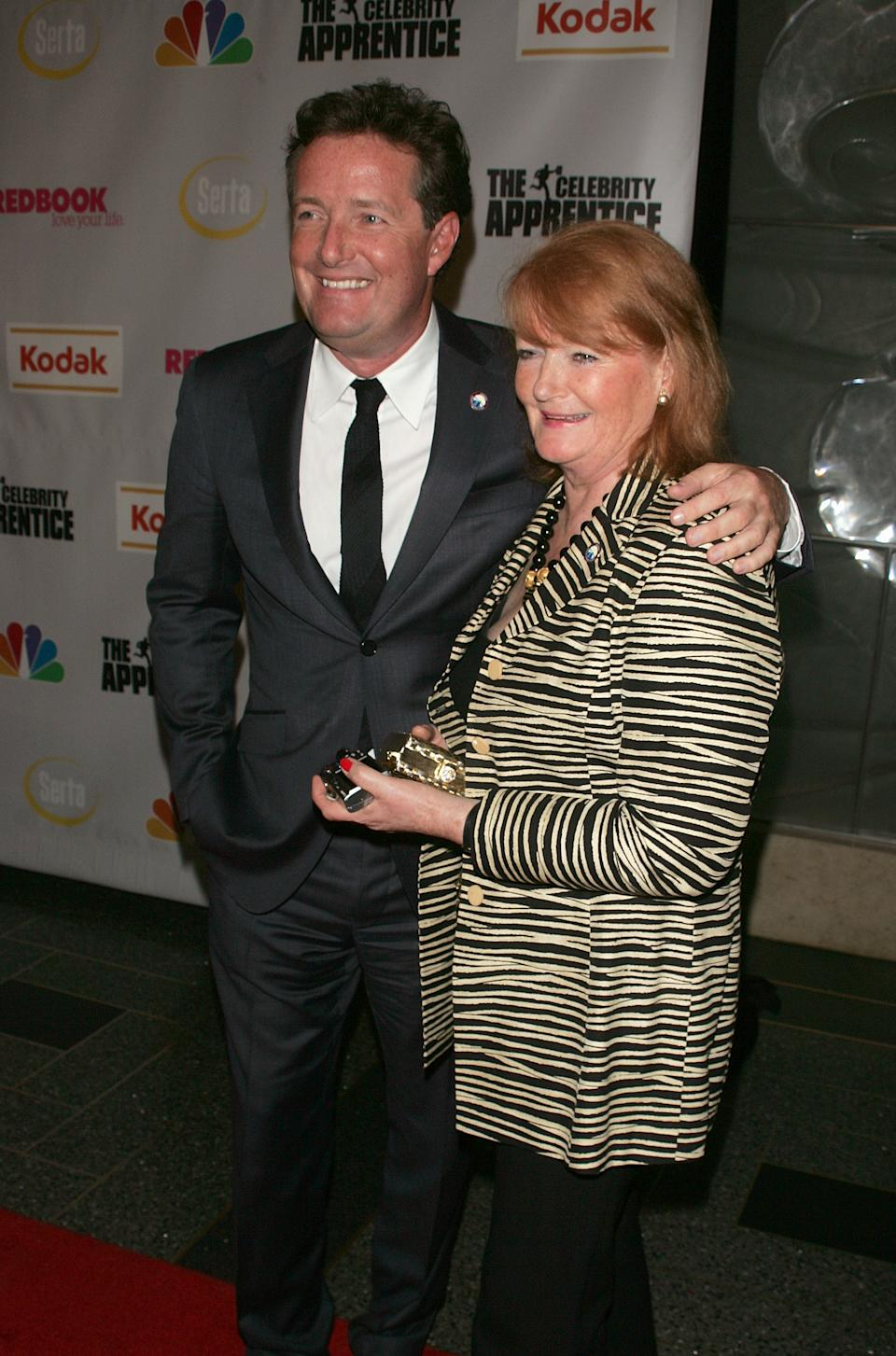"Piers Morgan and his mother attend ""The Celebrity Apprentice"" Finale at Rock Center Cafe, Rockefeller Center on March 27, 2008 in New York City. (Photo by Jim Spellman/WireImage)"