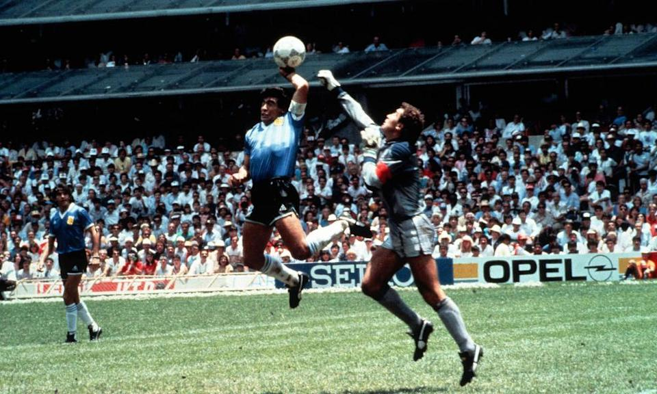 Diego Maradona's contentious goal for Argentina during the 1986 World Cup quarter-final against England was scored, he said, 'a little with the head of Maradona and a little with the hand of God'.