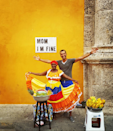 Posing with a local in Cartagena.