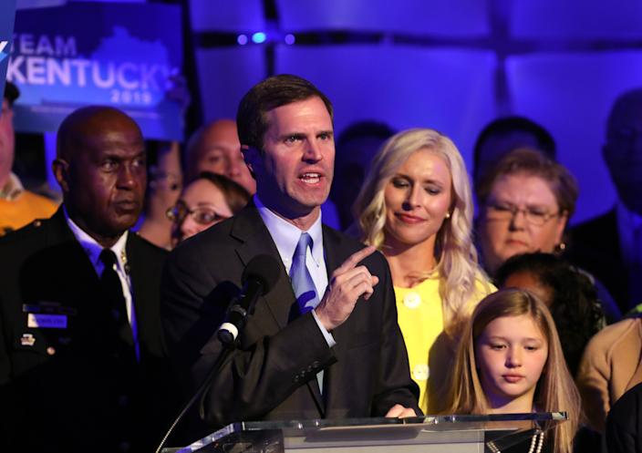 Andy Beshear speaks to supporters after voting results showed the Democrat holding a slim lead over incumbent Matt Bevin in Kentucky's gubernatorial race. (Photo: John Sommers II/Getty Images)