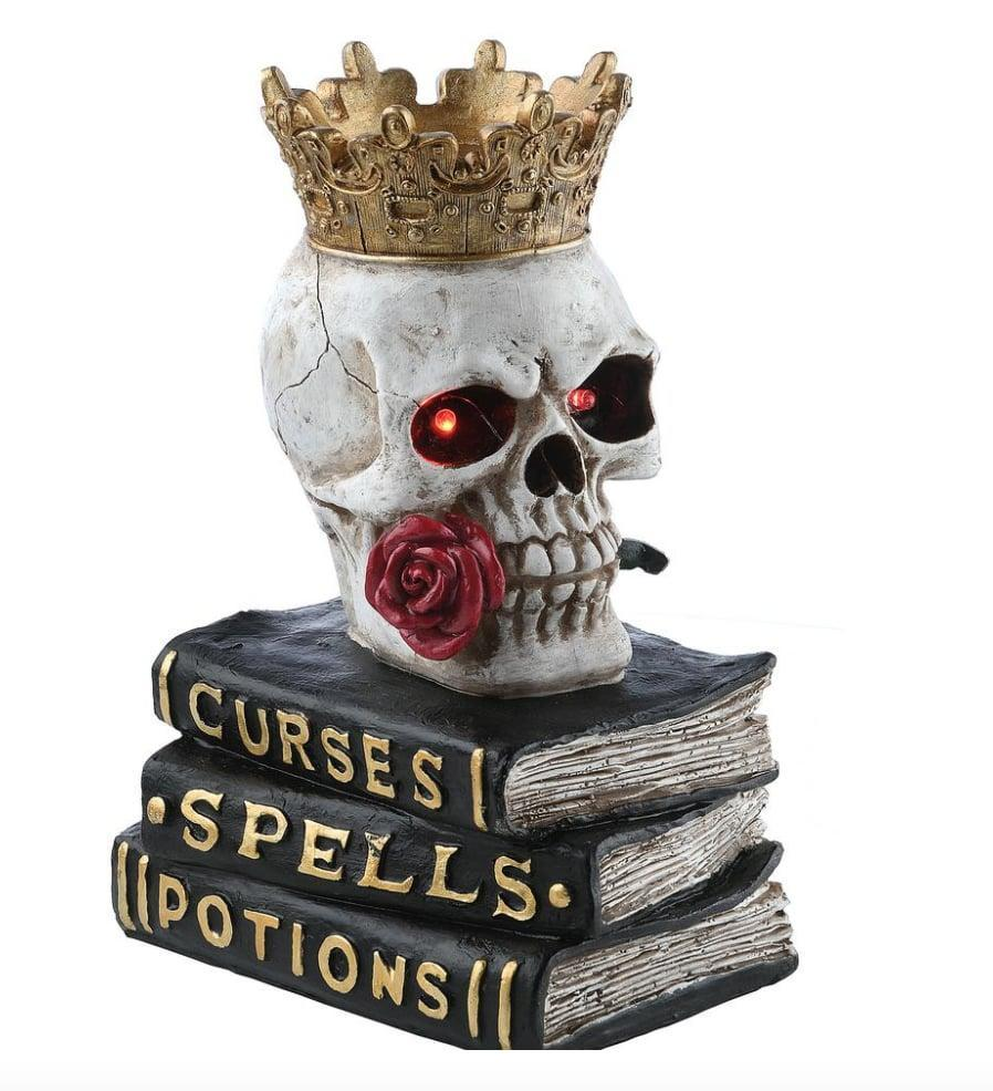 <p>Rest this tabletop <span>Skull Book Decor</span> ($17) piece on any flat surface to give your place an extra dash of haunting. Thanks to its small and lightweight frame, this item can be easily stored away with your other indoor decorations - just be sure to do a battery check next year in case they need to be replaced.</p>