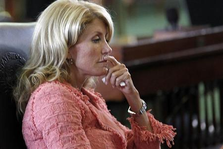 Texas state Democratic Senator Wendy Davis listens during a state Senate meeting in Austin, Texas