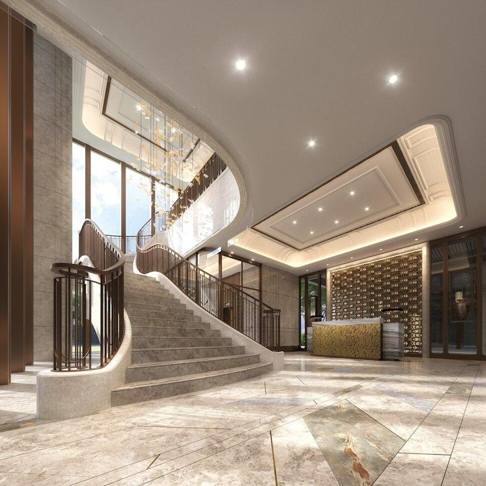 The lobby of the Grand Homm residential project at Ho Man Tin in Hong Kong's Kowloon district. Photo: Goldin Group
