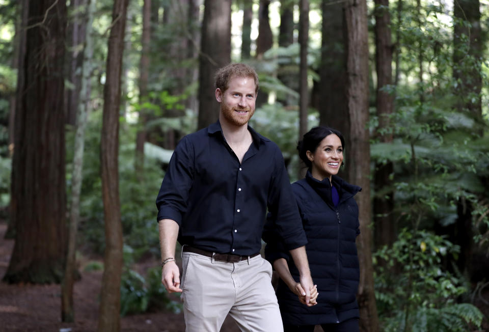 Harry and Meghan on their final day of their tour, in New Zealand (Getty),