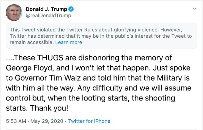 """Twitter has placed a warning on one of the president's tweets, accusing him of breaking the platform's rules about """"glorifying violence"""". (Photo: Donald Trump/ Twitter )"""