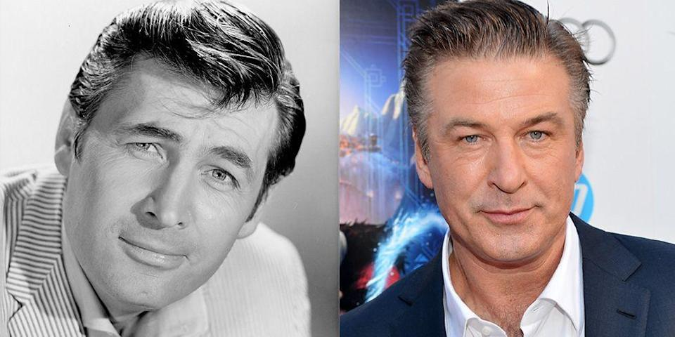 <p>There's something about Alec Baldwin's almond shaped eyes and strong chin that make him the carbon copy of <em>Davy Crockett</em>'s Fess Parker. That, and the fact that they both have a terrific head of hair. </p>