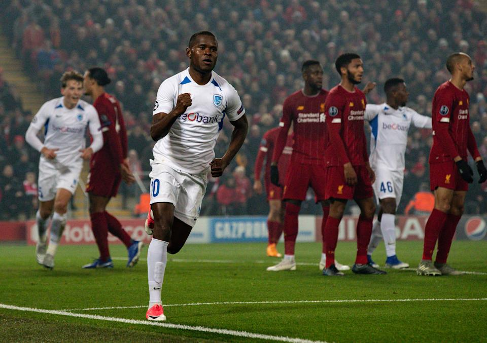 LIVERPOOL, ENGLAND - NOVEMBER 05: KRC Genk's Mbwana Samatta celebrates after scoring his side's first goal during the UEFA Champions League group E match between Liverpool FC and KRC Genk at Anfield on November 5, 2019 in Liverpool, United Kingdom. (Photo by Alex Dodd - CameraSport via Getty Images)