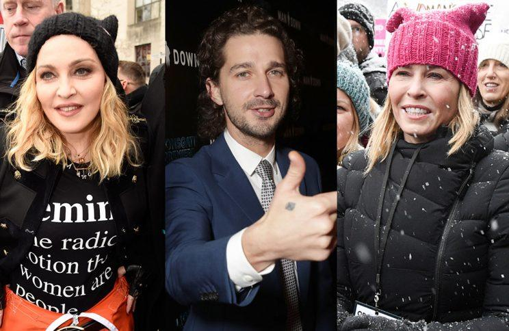 Madonna, Shia LaBeouf, and Chelsea Handler are drawing criticism for their anti-Trump rhetoric. (Photo: Getty Images)