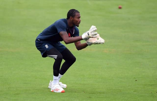 Jofra Archer, left out of the side, practised his wicketkeeping on the outfield (Stu Forster/PA)