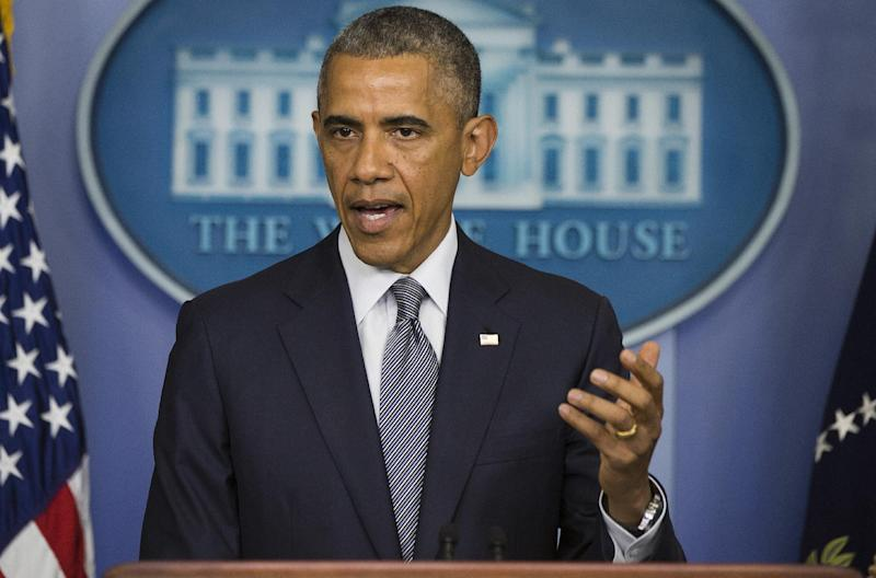 US President Barack Obama makes a statement on Ukraine from the Brady Press Briefing Room at the White House in Washington, DC, July 18, 2014
