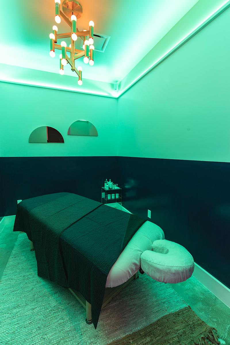 A single treatment room at Chillhouse's new flagship, which also has a double-capacity room for couples and friends to receive services together.