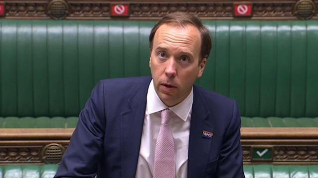 Health secretary Matt Hancock is said to be mulling the legal position of a local lockdown for Leicester. (Getty)