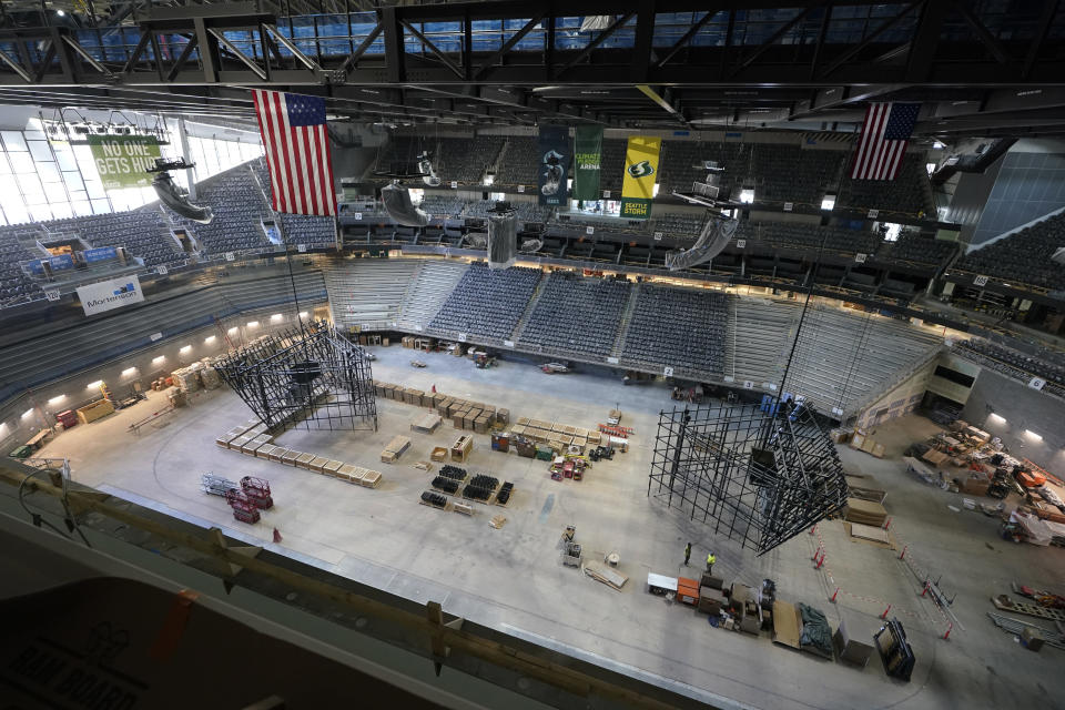 The ice and seating areas of Climate Pledge Arena are viewed during a media tour of the facility, Monday, July 12, 2021, in Seattle. The arena will be the home of the NHL hockey team Seattle Kraken and the WNBA Seattle Storm basketball team as well as hosting concerts and other performing arts events. (AP Photo/Ted S. Warren)