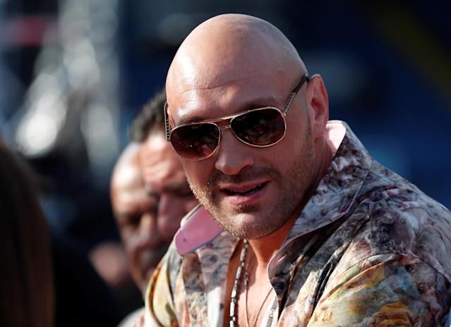 Boxing - Lee Selby vs Josh Warrington - IBF World Featherweight Title - Elland Road, Leeds, Britain - May 19, 2018 Tyson Fury before the start of the boxing Action Images via Reuters/Peter Cziborra