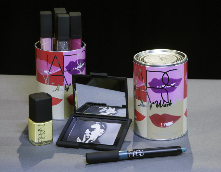 This Oct. 6, 2012 photo shows cosmetics from the Andy Warhol Silver Factory/Holiday 2012 collection by Nars cosmetics in New York. Francois Nars' company has taken on Andy Warhol's silvery Factory, silkscreened superstars and avant-garde films in a limited-edition cosmetic collection, exclusive to Sephora stores until Nov. 1. (AP Photo/Richard Drew)
