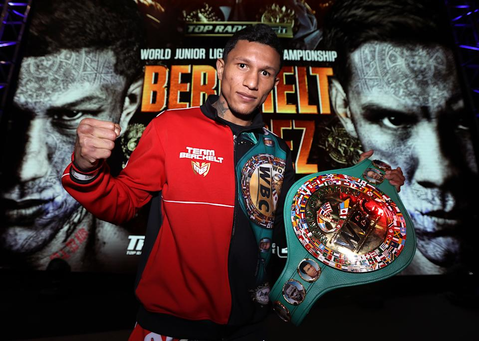 LAS VEGAS, NV - FEBRUARY 18: Miguel Berchelt poses during the press conference for the WBC super featherweight title at the MGM Grand Conference Center on February 18, 2021 in Las Vegas, Nevada. (Photo by Mikey Williams/Top Rank Inc via Getty Images)