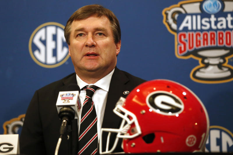 Georgia head coach Kirby Smart talks to reporters during a Sugar Bowl NCAA college news conference in New Orleans, Tuesday, Dec. 31, 2019. Georgia plays Baylor on New Year's Day. (AP Photo/Gerald Herbert)