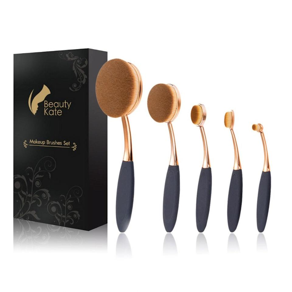 "<p><strong>Star Rating:</strong> 4.3 out of 5</p> <p><strong>Key selling points:</strong> When you're doing a full beat, reach for this five-piece set that will make foundation and concealer application a breeze. They won't absorb powder or liquid, so you'll save product, and the premium cruelty-free fibers are hypoallergenic and safe for sensitive skin. They're soft, dense, and perfect for blending—plus, the anti-slip grip promises precision that will leave your look snatched and camera-ready.</p> <p><strong>What customers say:</strong> This is the fifth set of oval shaped brushes I have purchased and I will never go back. Despite appearing somewhat odd, these brushes are seriously amazing. They blend well, pick up more product, and create a flawless finish. Seriously, I swear they cut down my beauty prep time. I am really in love with these brushes—they're affordable, durable, and best of all, they <em>work</em>! —<a href=""https://amzn.to/308WWqL"" rel=""nofollow noopener"" target=""_blank"" data-ylk=""slk:Melissa"" class=""link rapid-noclick-resp""><em>Melissa</em></a></p> $15, Amazon. <a href=""https://www.amazon.com/Professional-Toothbrush-Foundation-Beauty-Kate/dp/B01IT09GL6/ref="" rel=""nofollow noopener"" target=""_blank"" data-ylk=""slk:Get it now!"" class=""link rapid-noclick-resp"">Get it now!</a>"
