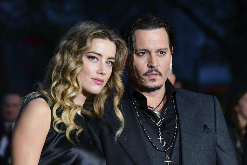 "Photo by: KGC-42/STAR MAX/IPx 2019 10/11/15 Amber Heard and Johnny Depp at the premiere of ""Black Mass"". (London, England, UK)"