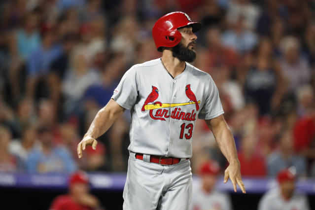 St. Louis Cardinals pinch-hitter Matt Carpenter reacts after hitting a soft liner for an out to Colorado Rockies shortstop Trevor Story with the bases loaded during the fifth inning of a baseball game Tuesday, Sept. 10, 2019, in Denver. (AP Photo/David Zalubowski)