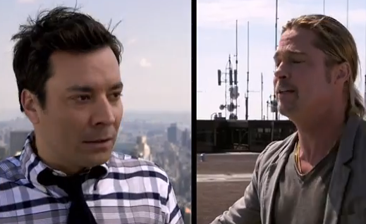 Brad Pitt, Jimmy Fallon Yodel From the Rooftops (Video)
