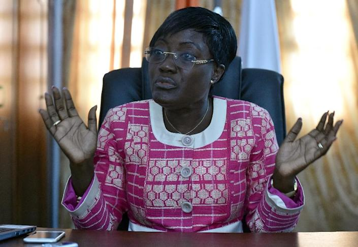 Ivorian minister of Social Cohesion Mariatou Kone speaks during an interview with AFP, in Abidjan, in May 2016 (AFP Photo/Issouf Sanogo)