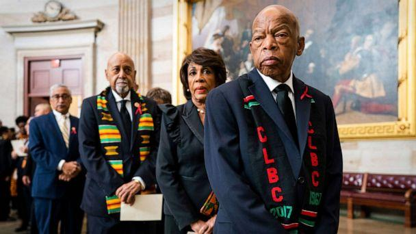 PHOTO: Rep. John Lewis, right, joins other members of the Congressional Black Caucus to await the casket of late Democratic Representative from Maryland Elijah Cummings in the Rotunda of the U.S. Capitol in Washington, D.C., Oct. 24, 2019. (Jim Lo Scalzo/EPA via Shutterstock)