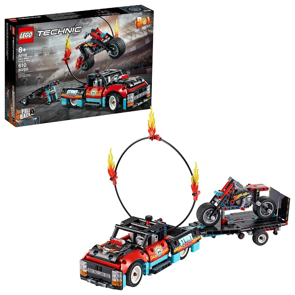 "<p>The <a href=""walmart.com/ip/LEGO-Technic-Stunt-Show-Truck-Bike-42106/702048786"" class=""link rapid-noclick-resp"" data-ylk=""slk:Lego Technic Stunt Show Truck and Bike"">Lego Technic Stunt Show Truck and Bike</a> ($40) has 610 pieces and is best suited for kids ages 8 and up.</p>"
