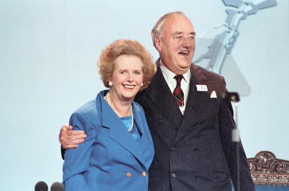 The Conservative Party Conference, Blackpool. Prime Minister Margaret Thatcher with Willie Whitelaw, October 1989. (Photo by Rowntree/Mirrorpix via Getty Images)