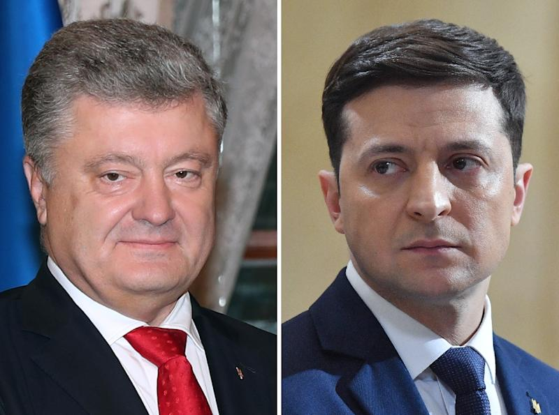 Polls show comedian Volodymyr Zelensky (R) handily defeating President Petro Poroshenko in a second-round of voting on Sunday (AFP Photo/Kayhan OZER, Sergei SUPINSKY)