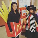 """<p>This DIY duo went all out dressing like the Hamburglar and a delicious looking medium french fries with a side of ketchup. </p><p><a class=""""link rapid-noclick-resp"""" href=""""https://www.amazon.com/French-Fries-Costume-Adult-Halloween/dp/B07WGW5XV8?tag=syn-yahoo-20&ascsubtag=%5Bartid%7C10072.g.27868801%5Bsrc%7Cyahoo-us"""" rel=""""nofollow noopener"""" target=""""_blank"""" data-ylk=""""slk:SHOP FRENCH FRY COSTUME"""">SHOP FRENCH FRY COSTUME</a> </p>"""