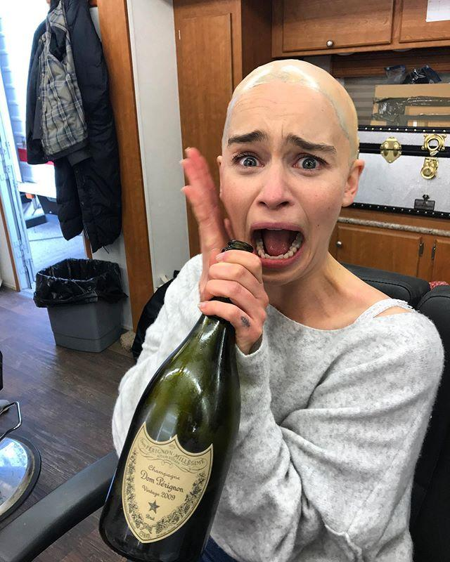 """<p>Mid-Daenerys-transformation, Emilia shared a BTS photo with her makeup off and bald cap on while wielding a drink to relax her nerves before filming. </p><p><a href=""""https://www.instagram.com/p/BxZ_X27FLVU/?utm_source=ig_embed&utm_campaign=loading"""">See the original post on Instagram</a></p><p><a href=""""https://www.instagram.com/p/BxZ_X27FLVU/?utm_source=ig_embed&utm_campaign=loading"""">See the original post on Instagram</a></p><p><a href=""""https://www.instagram.com/p/BxZ_X27FLVU/?utm_source=ig_embed&utm_campaign=loading"""">See the original post on Instagram</a></p><p><a href=""""https://www.instagram.com/p/BxZ_X27FLVU/?utm_source=ig_embed&utm_campaign=loading"""">See the original post on Instagram</a></p><p><a href=""""https://www.instagram.com/p/BxZ_X27FLVU/?utm_source=ig_embed&utm_campaign=loading"""">See the original post on Instagram</a></p><p><a href=""""https://www.instagram.com/p/BxZ_X27FLVU/?utm_source=ig_embed&utm_campaign=loading"""">See the original post on Instagram</a></p><p><a href=""""https://www.instagram.com/p/BxZ_X27FLVU/?utm_source=ig_embed&utm_campaign=loading"""">See the original post on Instagram</a></p><p><a href=""""https://www.instagram.com/p/BxZ_X27FLVU/?utm_source=ig_embed&utm_campaign=loading"""">See the original post on Instagram</a></p><p><a href=""""https://www.instagram.com/p/BxZ_X27FLVU/?utm_source=ig_embed&utm_campaign=loading"""">See the original post on Instagram</a></p><p><a href=""""https://www.instagram.com/p/BxZ_X27FLVU/?utm_source=ig_embed&utm_campaign=loading"""">See the original post on Instagram</a></p><p><a href=""""https://www.instagram.com/p/BxZ_X27FLVU/?utm_source=ig_embed&utm_campaign=loading"""">See the original post on Instagram</a></p>"""