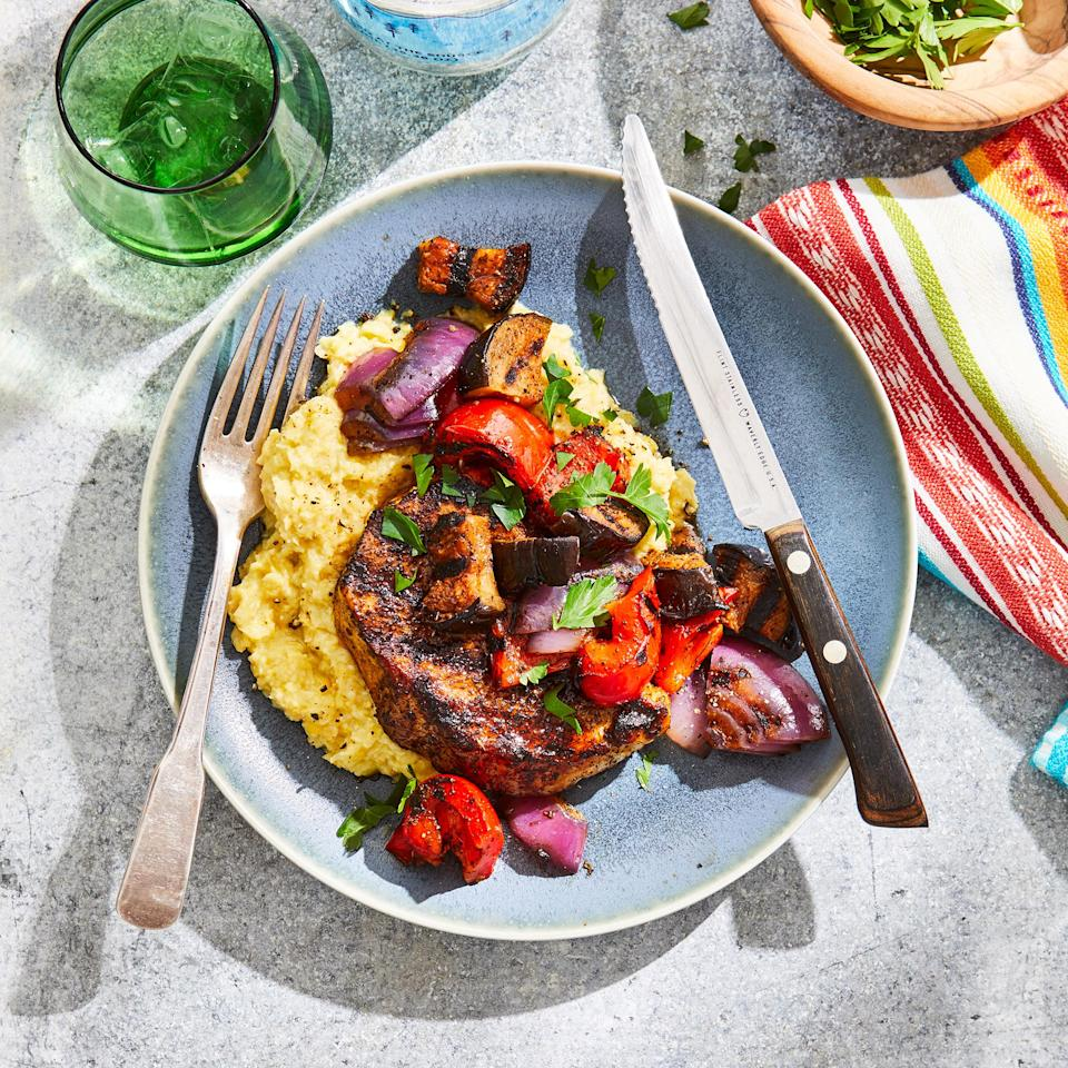 <p>Fresh-corn polenta is a summery accompaniment to the pork and vegetables here. Ancho chile powder, made from dried ground poblano peppers, adds sweet, mild heat.</p>