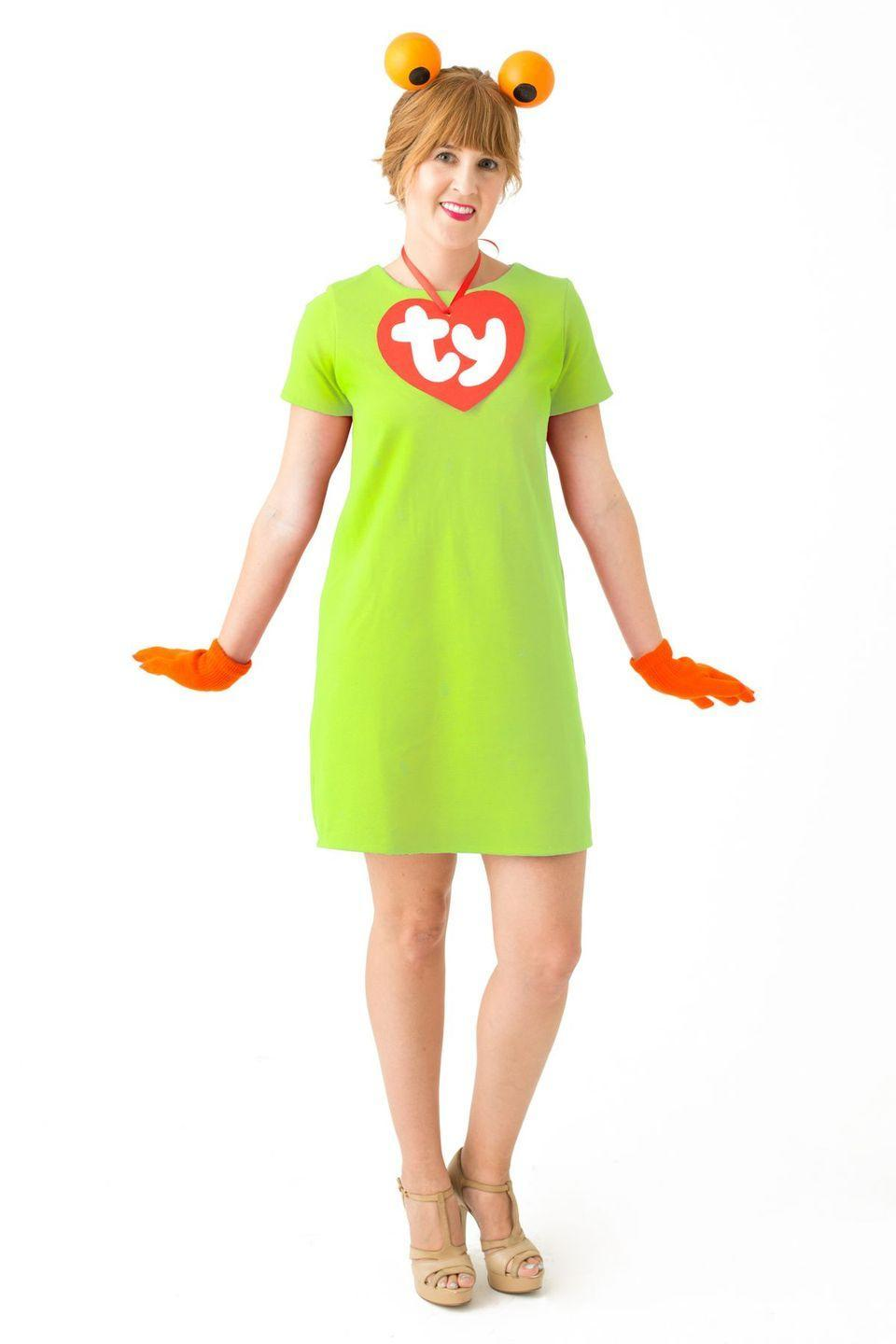 """<p>Customize this costume by simply adding the """"TY"""" tag to any outfit resembling your favorite beanie baby toy. </p><p><strong><em><a href=""""https://studiodiy.com/diy-90s-toys-costumes//"""" rel=""""nofollow noopener"""" target=""""_blank"""" data-ylk=""""slk:Get the tutorial at Studio DIY"""" class=""""link rapid-noclick-resp"""">Get the tutorial at Studio DIY</a>. </em></strong></p>"""