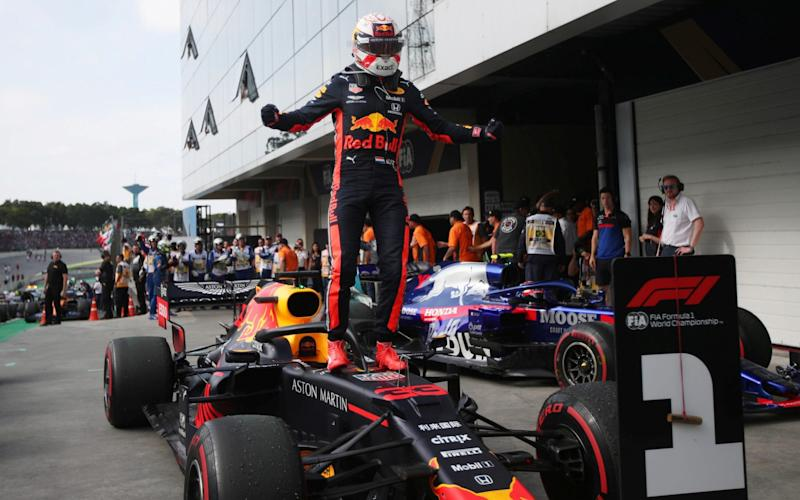 Max Verstappen won a chaotic Brazilian Grand Prix, leading Pierre Gasly and Lewis Hamilton home - REUTERS