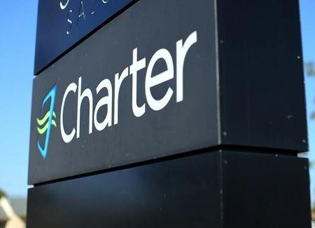 A Charter Communications company store sign is pictured in Long Beach, California