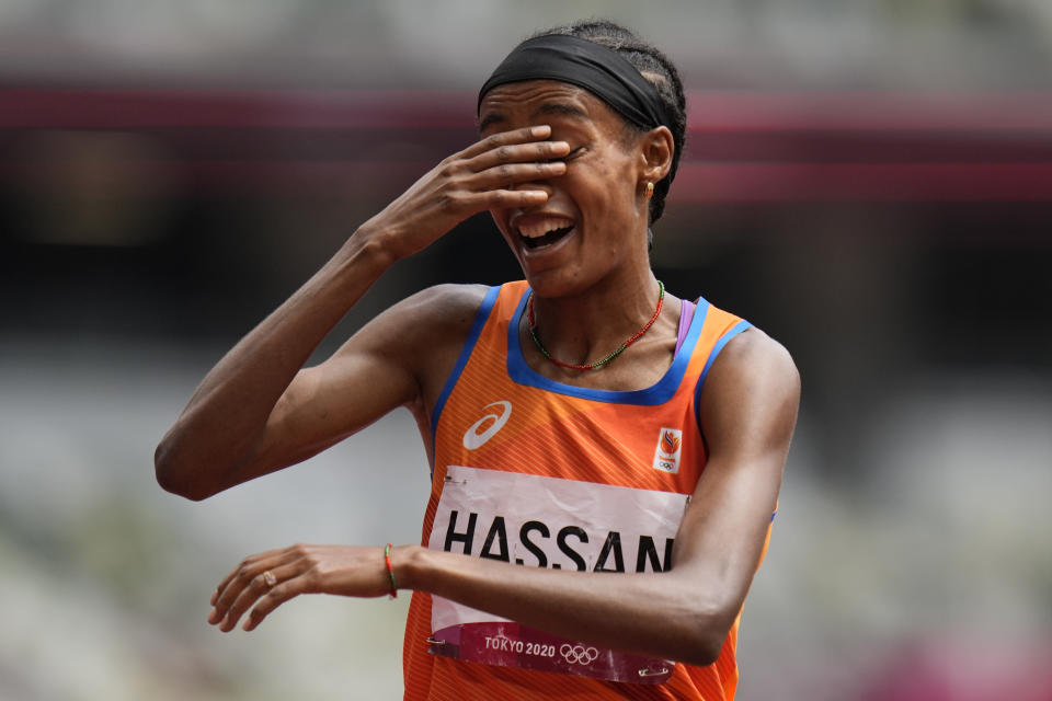 Sifan Hassan, of the Netherlands, reacts after winning her heat of the women's 1,500-meters at the 2020 Summer Olympics, Monday, Aug. 2, 2021, in Tokyo. (AP Photo/Petr David Josek)