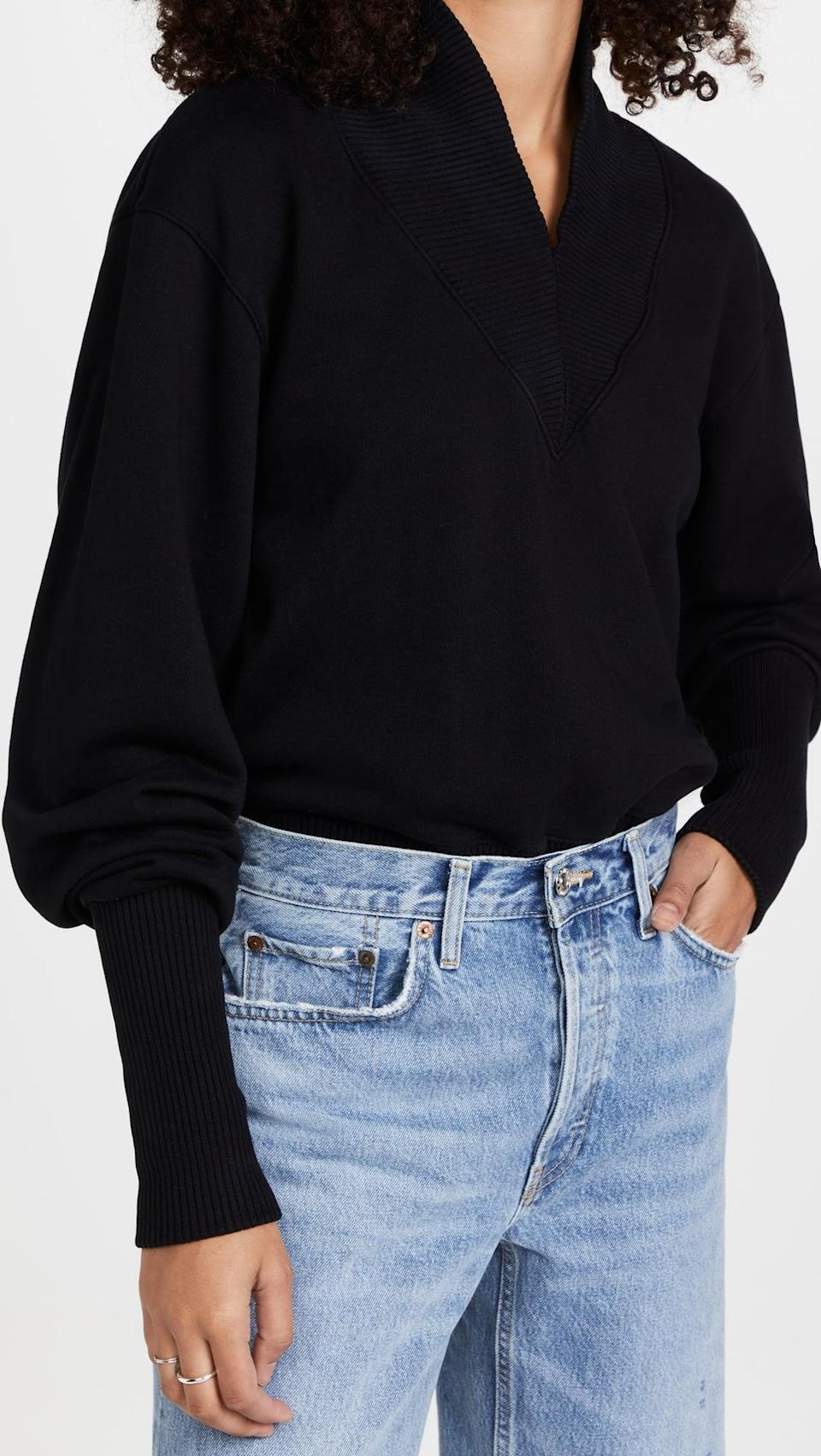 <p>If they're in sweats every single day, the best gift ever is a luxe update on their staples. We're obsessed with the silhouette of this <span>AGOLDE Klara Extended V Neck Sweatshirt</span> ($188).</p>