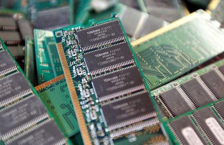 FILE PHOTO: Toshiba's used-memory chips are seen at an electronics shop in Tokyo