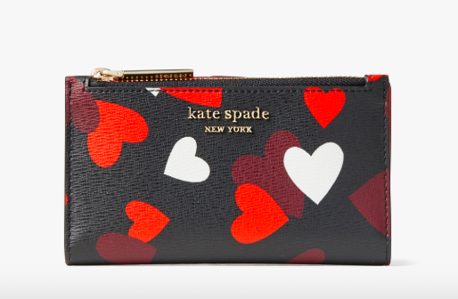 Spencer celebration hearts small slim bifold wallet. Image via Kate Spade.