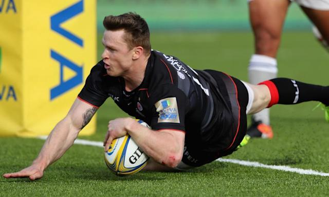 """<span class=""""element-image__caption"""">Chris Ashton dives over to score his second try for Saracens against Bath.<br></span> <span class=""""element-image__credit"""">Photograph: David Rogers/Getty Images</span>"""