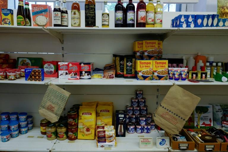 East German products are on display on shelves at a recreated East German grocery store for 'Socialist revival live cinema event', in Berlin