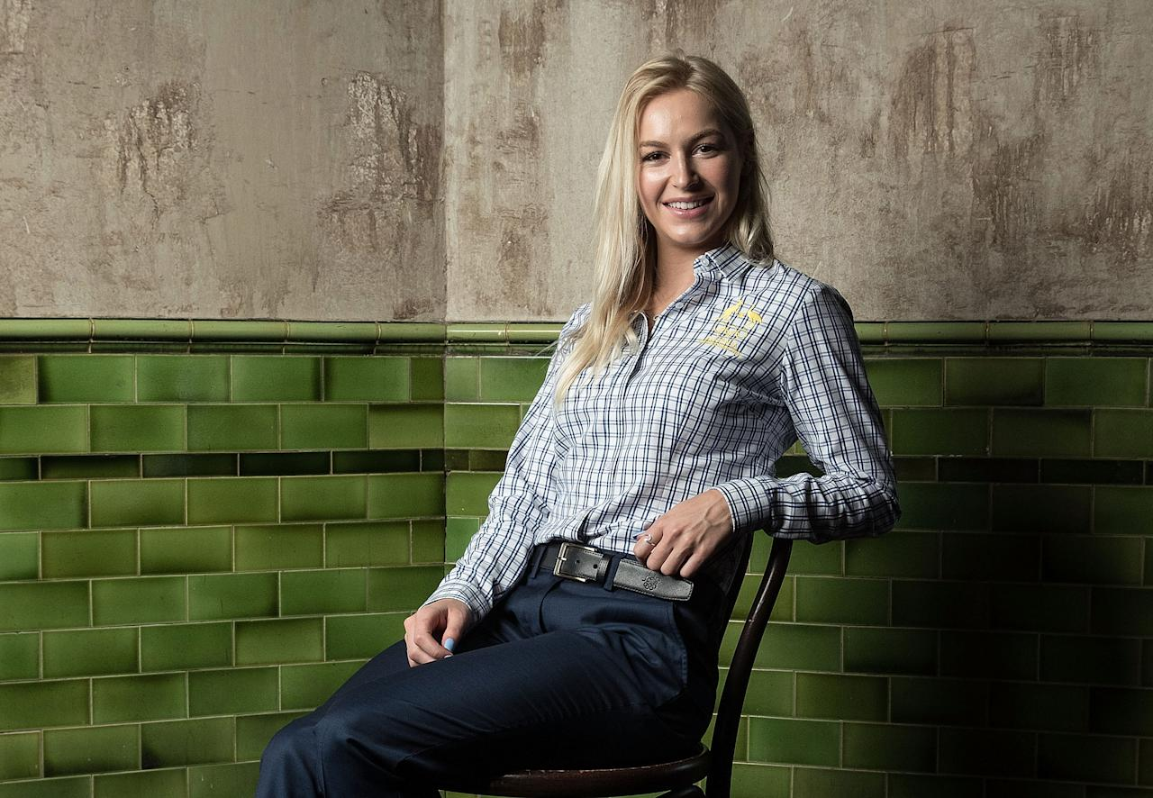 <p>SYDNEY, AUSTRALIA – OCTOBER 20: Danielle Scott poses ahead of the Australian Olympic Committee 2018 Winter Olympic Games uniform launch at The Palisade Hotel in Sydney. (Getty Images) </p>