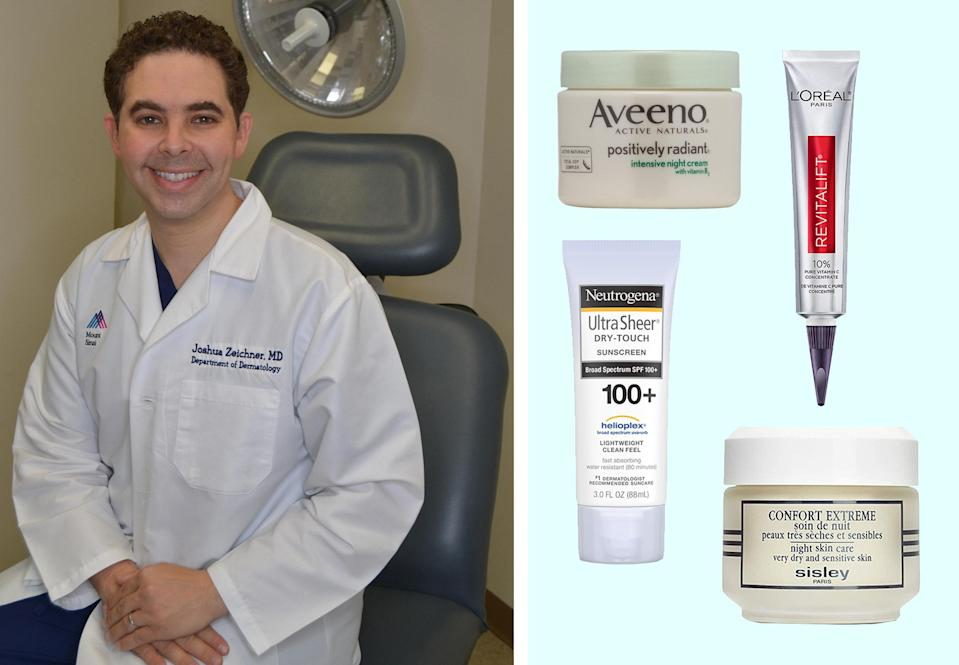 """<h1 class=""""title"""">dr. joshua ziechner; his favorite skin-care products on a blue background</h1><cite class=""""credit"""">Courtesy of Dr. Zeichner/Brittany Theophilus</cite>"""