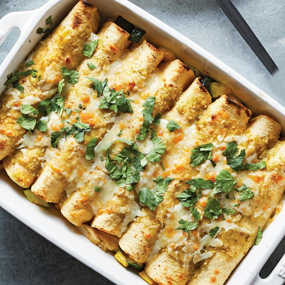 """<p>These chicken enchiladas are great for using up any veggies you have lingering in your fridge. Our chicken enchilada recipe calls for zucchini, squash and onion, but you could easily swap in spinach, onions or potatoes. <a href=""""http://www.eatingwell.com/recipe/278420/25-minute-chicken-veggie-enchiladas/"""" rel=""""nofollow noopener"""" target=""""_blank"""" data-ylk=""""slk:View recipe"""" class=""""link rapid-noclick-resp""""> View recipe </a></p>"""
