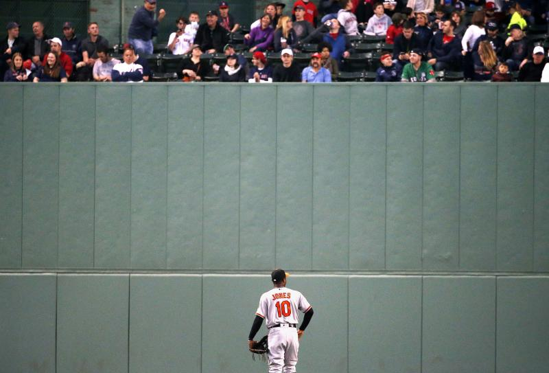 Baltimore Orioles' Adam Jones looks up at fans in center field during the third inning of a baseball game against the Boston Red Sox, Tuesday, May 2, 2017, in Boston. (AP Photo/Michael Dwyer)